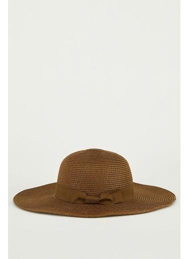 DeFacto Kadın Şerit Detaylı Hasır Şapka Kahve